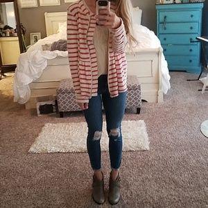 Free People Striped Peplum Sweater Jacket